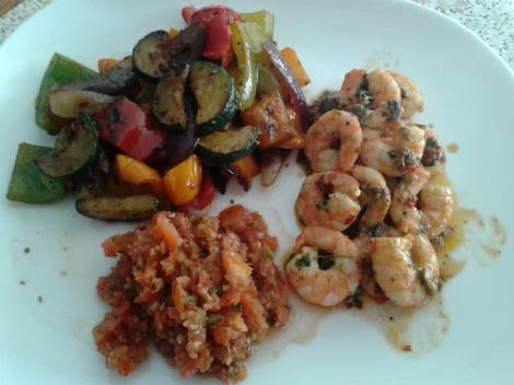 Serve with pan-fried/roasted mediterranean vegetables and Tomato salsa. Add more lemon to the prawns after cooking if desired... it's good for you!