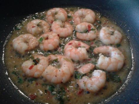 The prawns curl up and get some 'colour' when they're cooked enough. Make sure you leave some sauce because it's uber tasty and tangy, just how I love it! Dry prawns are not cool.